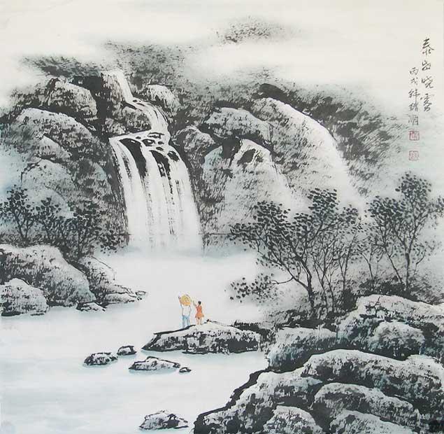 韩绪顺-山水画5-泰山晓雾-淘宝-名人字画-中国书画,,.